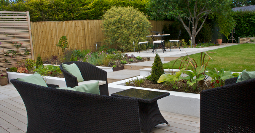 Sylvan studio wiltshire garden design for Garden hot tub designs